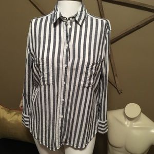 h&m label of graded goods striped button-down top